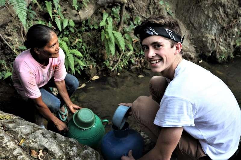 Hayden collecting water